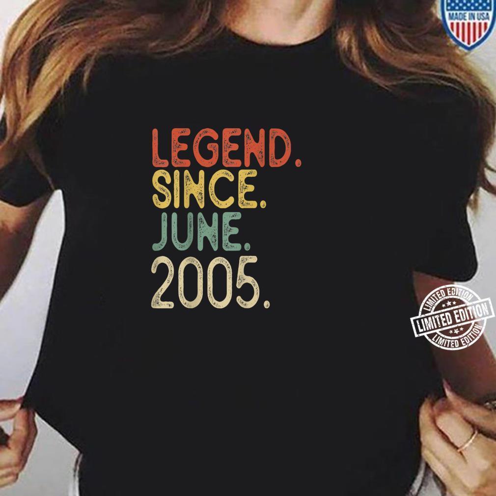 16th Birthday Legend since June 2005 Vintage 16 Years old Shirt ladies tee