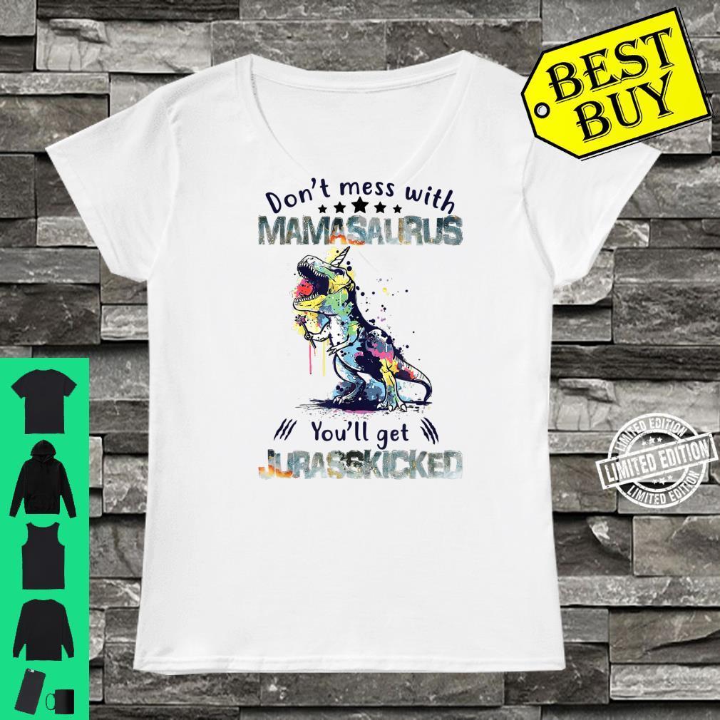 Mamasaurus Mama Saurus Dinosaur TRex Family Matching Shirt ladies tee