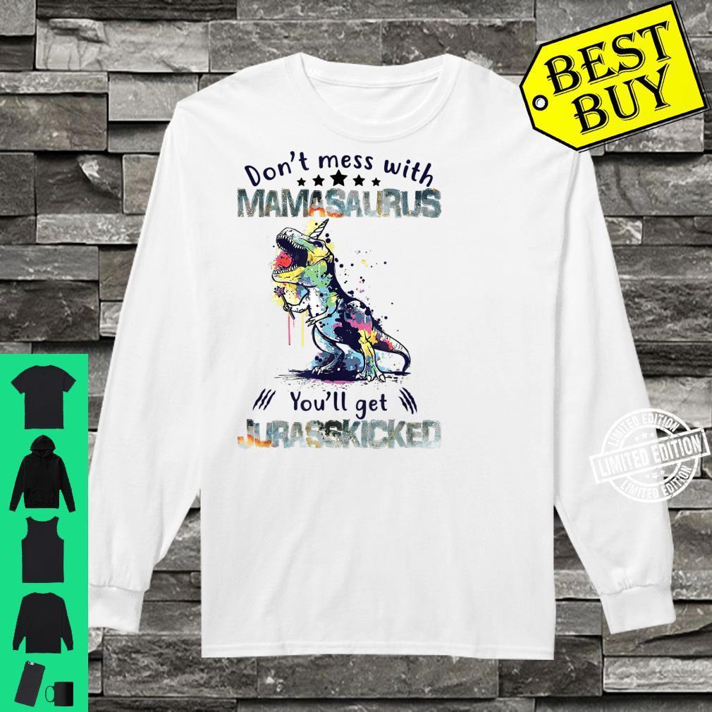 Mamasaurus Mama Saurus Dinosaur TRex Family Matching Shirt long sleeved