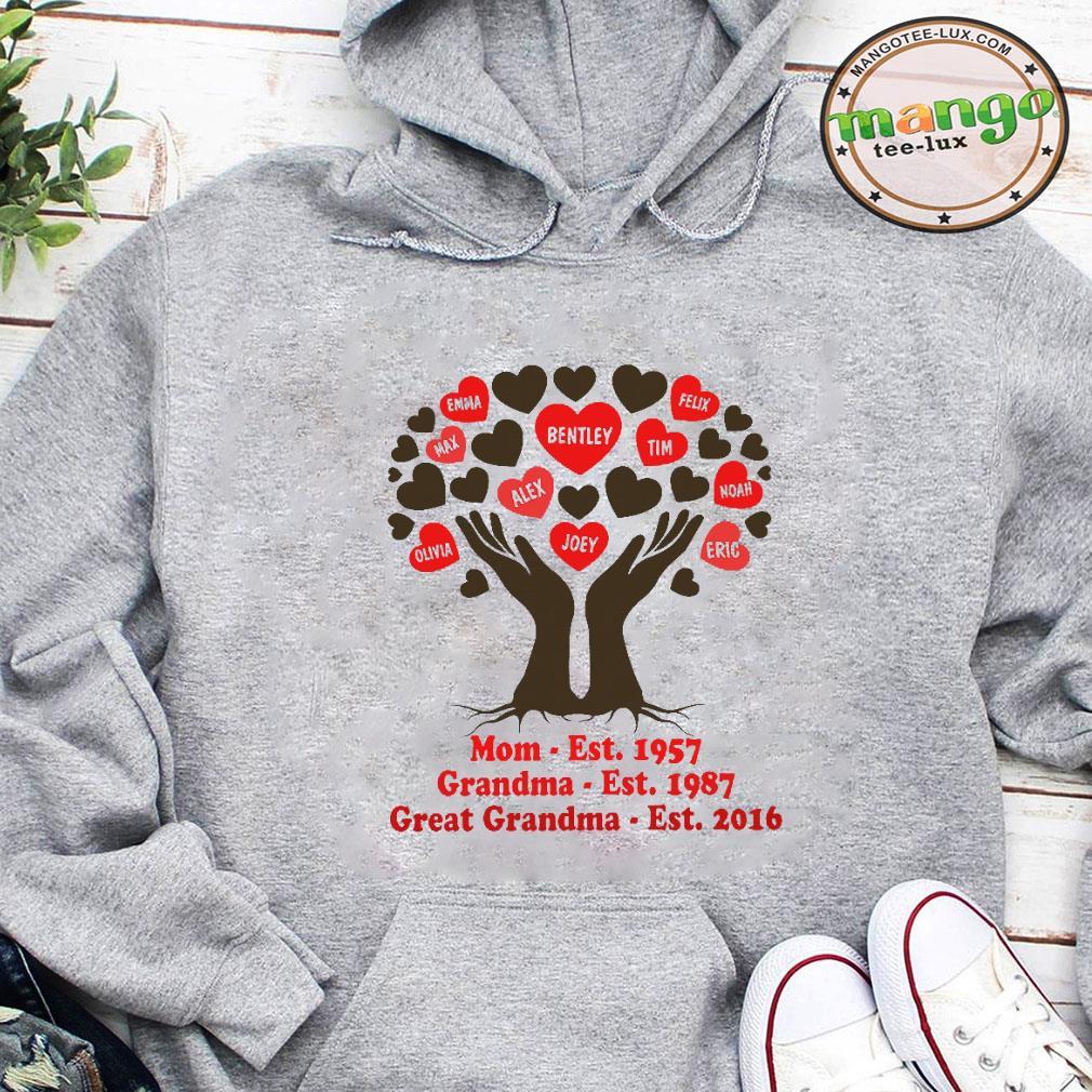Mom est 1957 grandma est 1987 great grandma est 2016 shirt hoodie