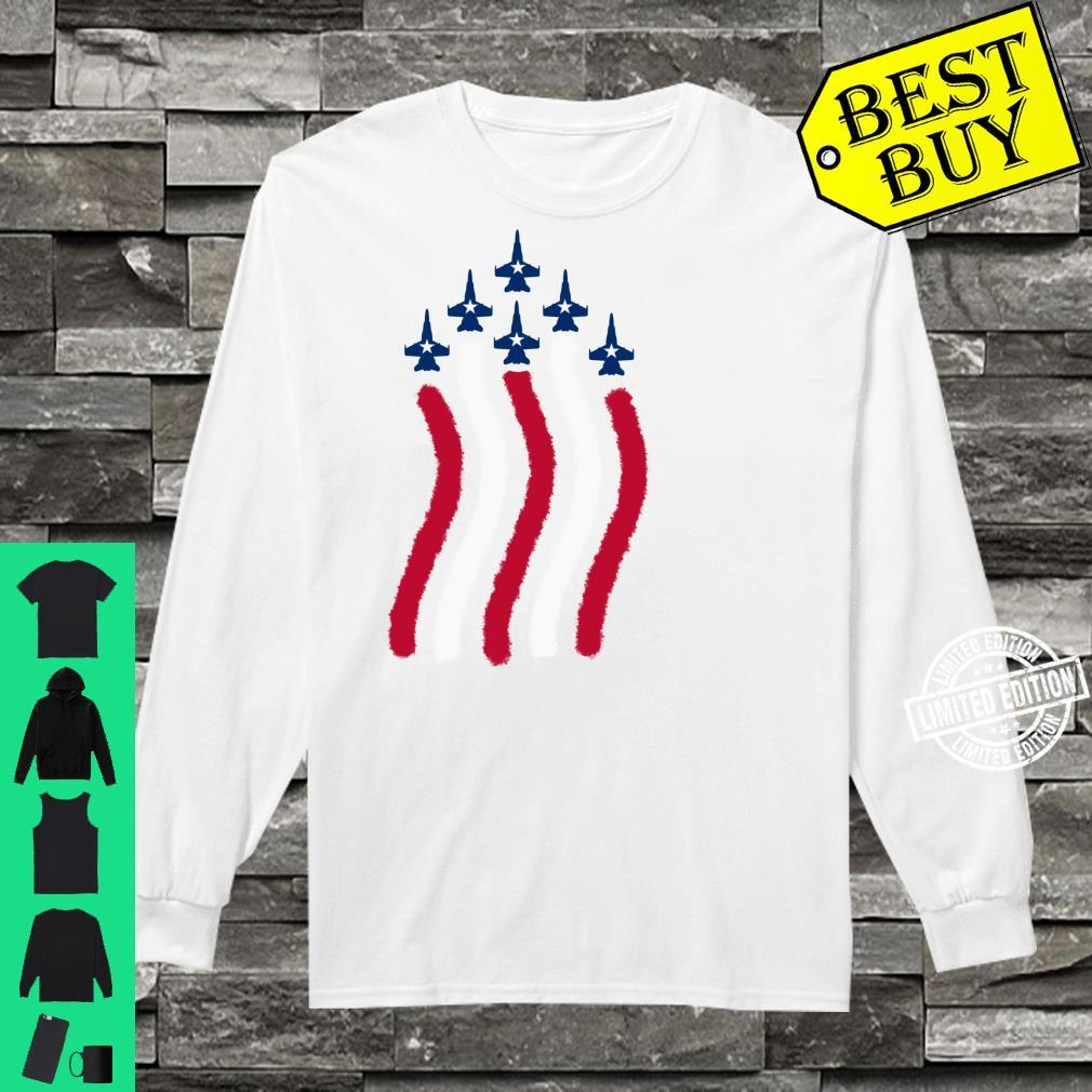 American Flag Patriotic Fighter Jet Airplane Plane Flyover Shirt long sleeved