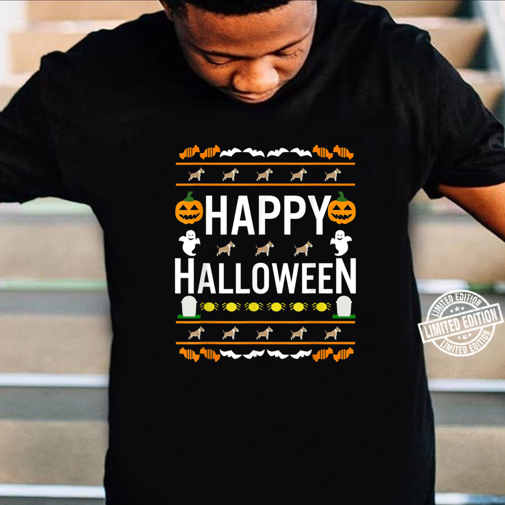 Bull Terrier Fawn And White Color Halloween Lazy Ugly Costum Shirt