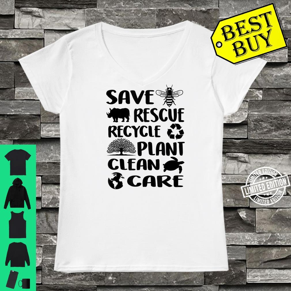 Earth Day 2021 Save Bees Rescue Animals Recycle Plastic Env Shirt ladies tee