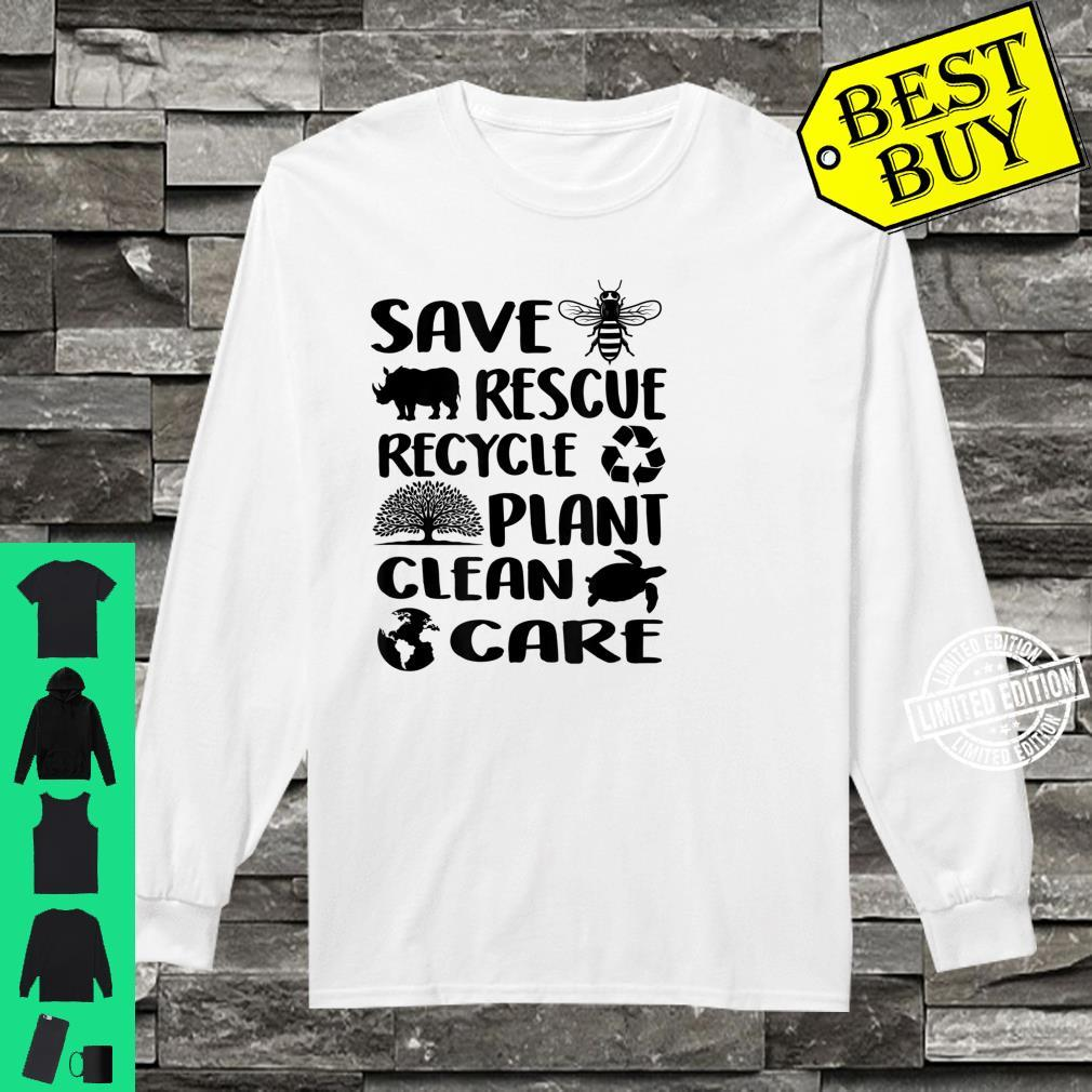 Earth Day 2021 Save Bees Rescue Animals Recycle Plastic Env Shirt long sleeved