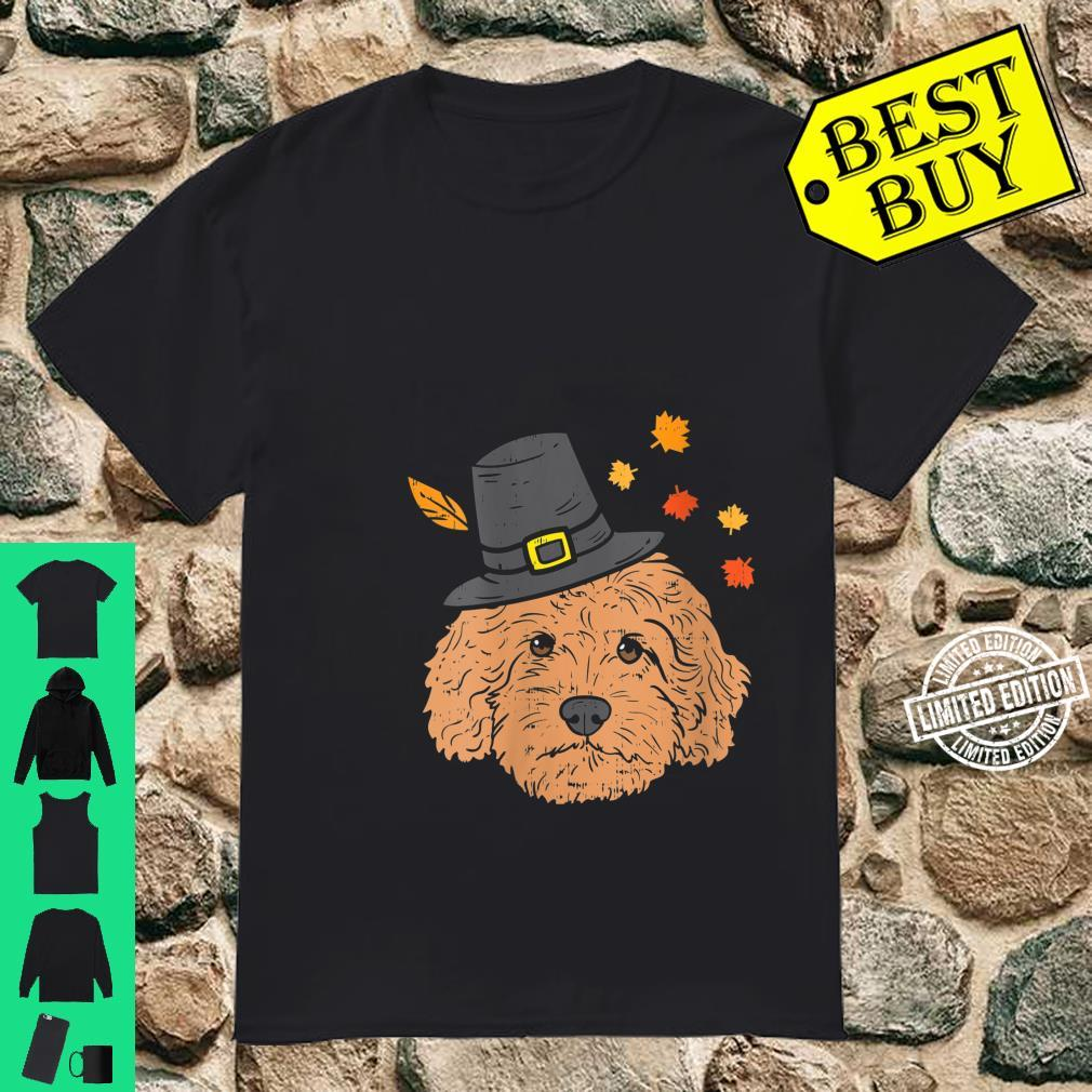 Womens Pilgrim Goldendoodle Dog Thanksgiving Fall Autumn Leaf Shirt