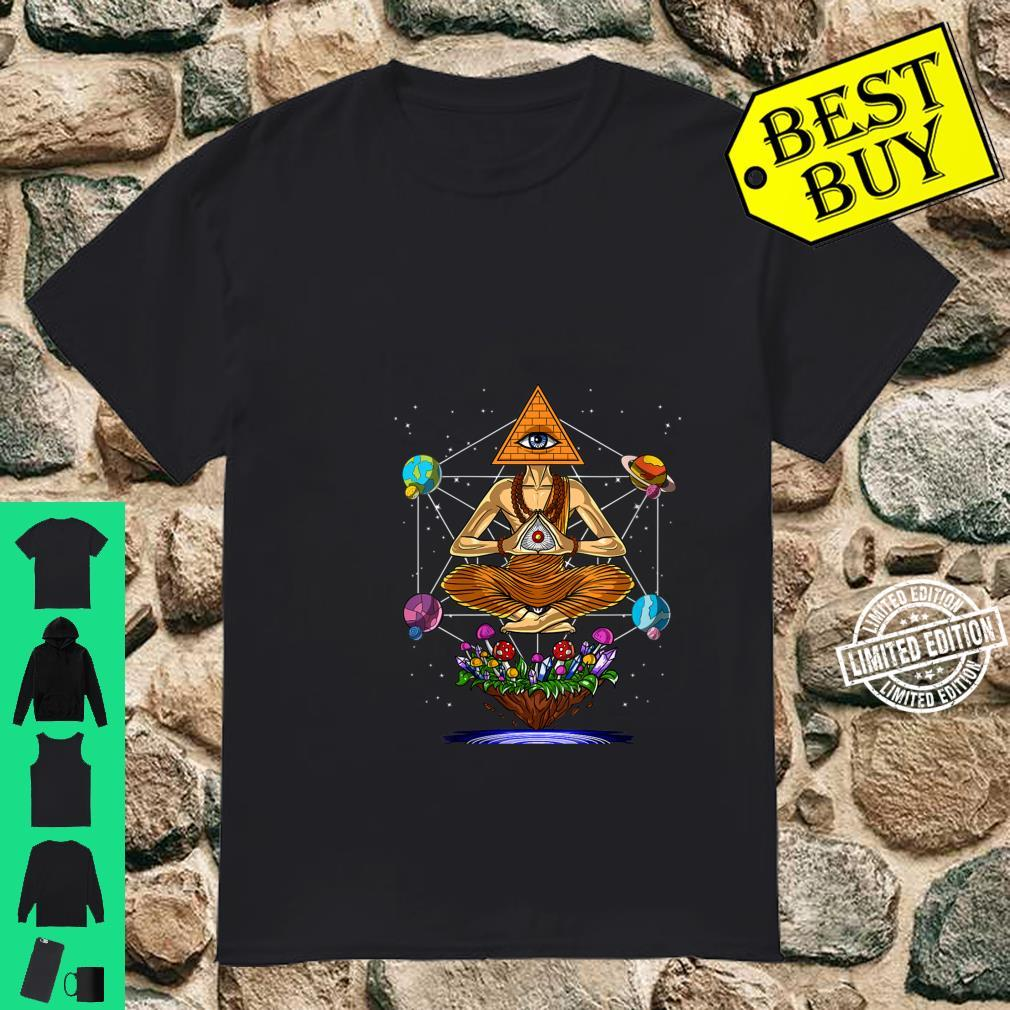 Womens Psychedelic Illuminati Pyramid Buddha Magic Mushrooms Space Shirt